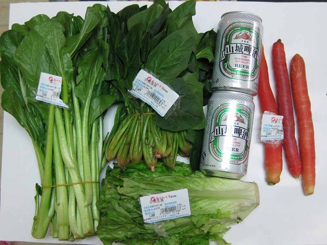 買い物した野菜類